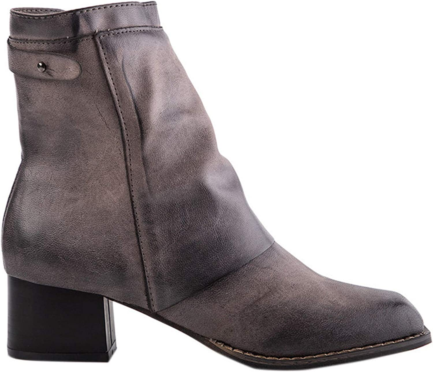 Women Winter Leather Grey Ankle Boots Square Toe Med Heel Zipper Ladies Bootie shoes Plus