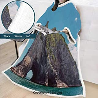 Seaside Decor Premium Sherpa Deluxe Fleece Blanket with Sleeves,Famous Elephant Shape Rock with the Grand Hole in Bay of Islands Nz Cavern Peace Photo Throws Wrap Robe Blanket for Adult Women,Men,Blue
