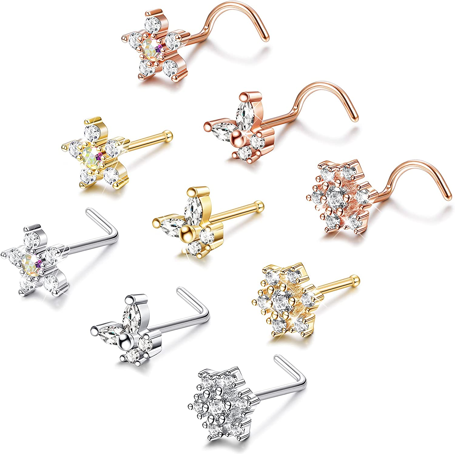 Drperfect Max 62% OFF 20G L Shape Bone Screw Studs New Shipping Free Snowflake Nose F Bling CZ