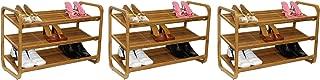 Oceanstar SR1231 3-Tier Bamboo Shoe Rack (Pack of 3)