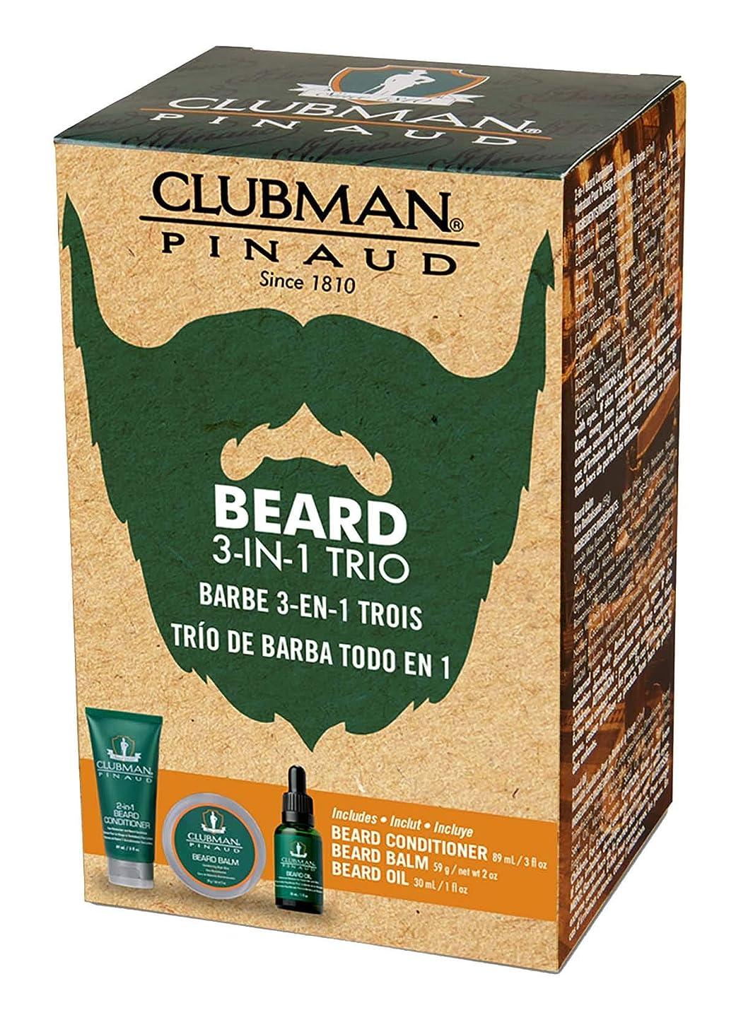 トリプル切り刻むスペルCLUBMAN Beard 3 in 1 Trio - Beard Balm, Oil and 2 in 1 Conditioner (並行輸入品)