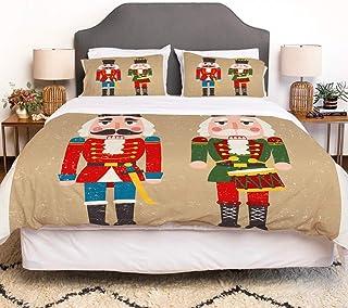 LENYOVO Juego de Funda nordica,Ropa de Cama,Story Christmas Two Colored Nutcrackers Holidays Toys Retro Vintage Drummer Design,Microfibra,Edredon 220x240cm con 2 Fundas de Almohada 50x80cm