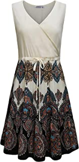 MOQIVGI Womens Summer Casual Sleeveless V Neck Tie Waist Knee Length Dresses