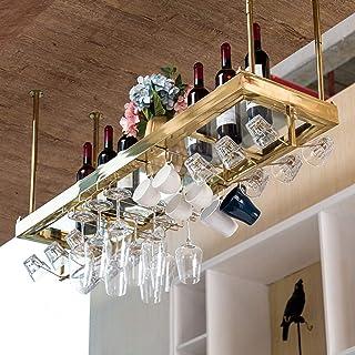 YZ-YUAN Casiers à vin durables avec Verre stratifié Hauteur réglable Plafond Suspendu Porte-Bouteille de vin en Acier Inox...