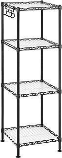 SONGMICS Étagère pour salle de bain à 4 niveaux, Étagère d'angle métallique robuste, charge 80 kg, avec 4 planches en plas...
