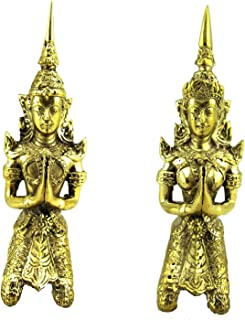 Blue Orchid Teppanom Thai Angel Statue Protection Amulet Small Brass Figurines Gold Pair Woman Man Home Decor 4.75 Inches