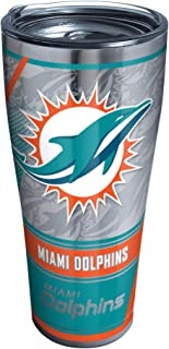 Tervis 1302778 NFL Miami Dolphins Edge Stainless Steel Insulated Tumbler with Clear and Black Hammer Lid, 30 oz, Silver