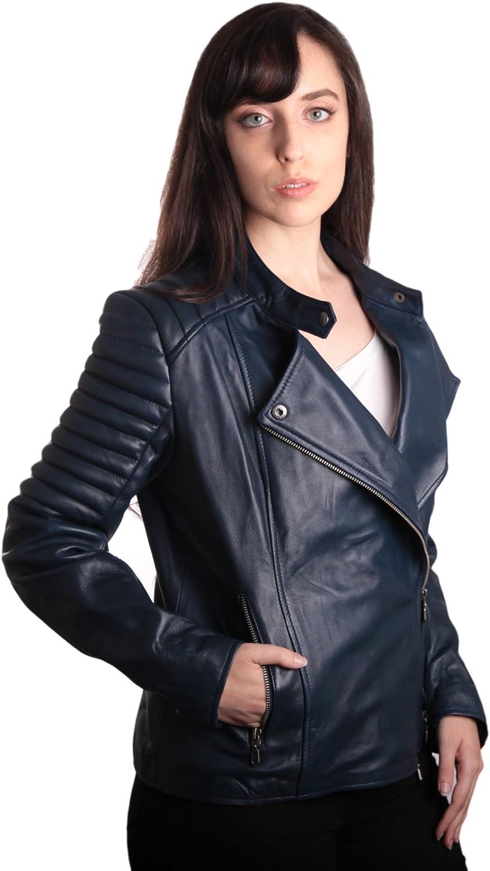 Fadcloset Ladies Bella Navy bluee Carla Leather Jacket