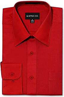 G-Style USA Men's Regular Fit Long Sleeve Solid Color Dress Shirts - RED - X-Large - 32-33