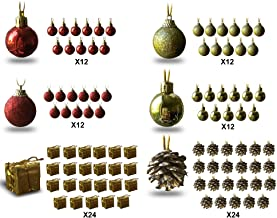 BANBERRY DESIGNS Mini Christmas Ornaments - Assorted Set of 192 Ornaments - Red and Gold Mini Ball Ornaments - Pinecones a...