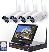$289 Get All in one with 10.1 inches Monitor Wireless Security Camera System, Home Business CCTV Surveillance 1080P NVR Kit, 4pcs 1.3MP 960P Indoor Outdoor Night Vision Bullet IP Camera, 1TB Hard Drive
