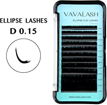 Ellipse Eyelash Extensions 0.15mm D Curl 8-15mm Mixed Flat Eyelash Extension supplies Light Lashes Matte Individual Eyelashes Salon Use Black Mink False Lashes Mink Lashes Extensions(D-0.15-MIXED)