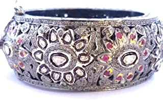 Victorian Rose Cut Diamond pave Ruby Indian Style Bangle, 925 Sterling Silver Uncut Polki Diamond Bangle, Bridal Anniversary Bangle Gift