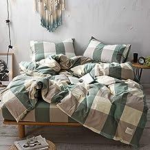 Abojoy 3-Piece Bedding Set 100% Natural Washed Cotton Linen Like Textured Breathable Durable Duvet Cover Set - Ultra Soft ...