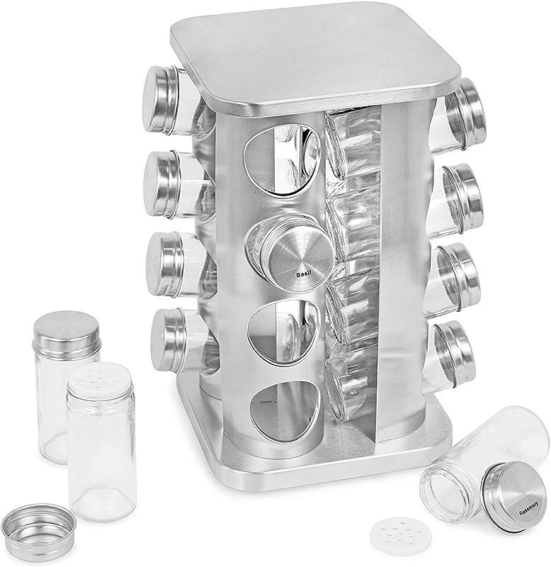 Internet S Best Revolving Spice Tower Square Spice Rack Set Of 16 Spice Jars Seasoning Storage Organization Stainless Steel