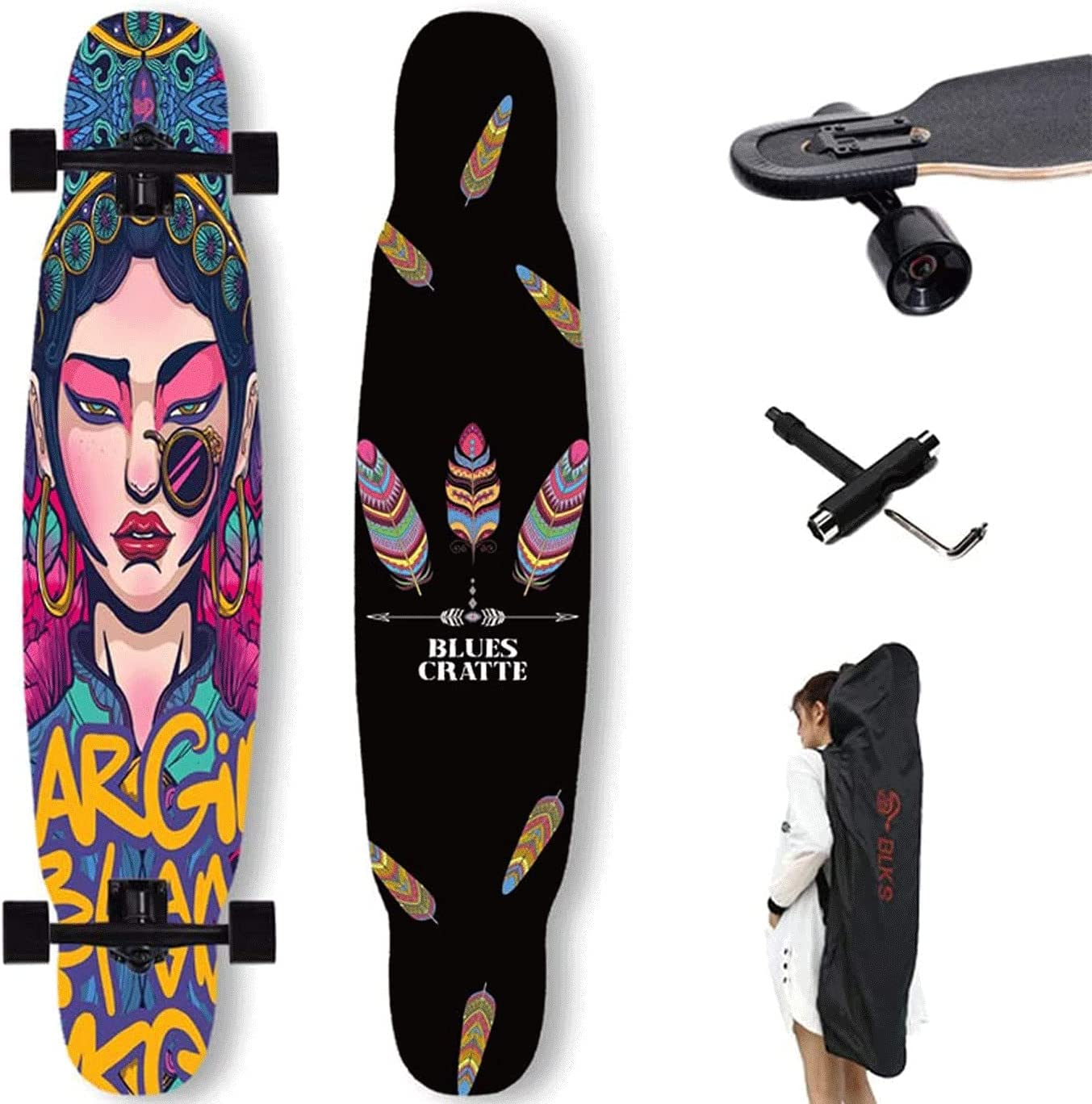 EEGUAI 42 Inch Skateboard Longboard Topics on TV 7 - Layer Sales of SALE items from new works Maple Ska Complete