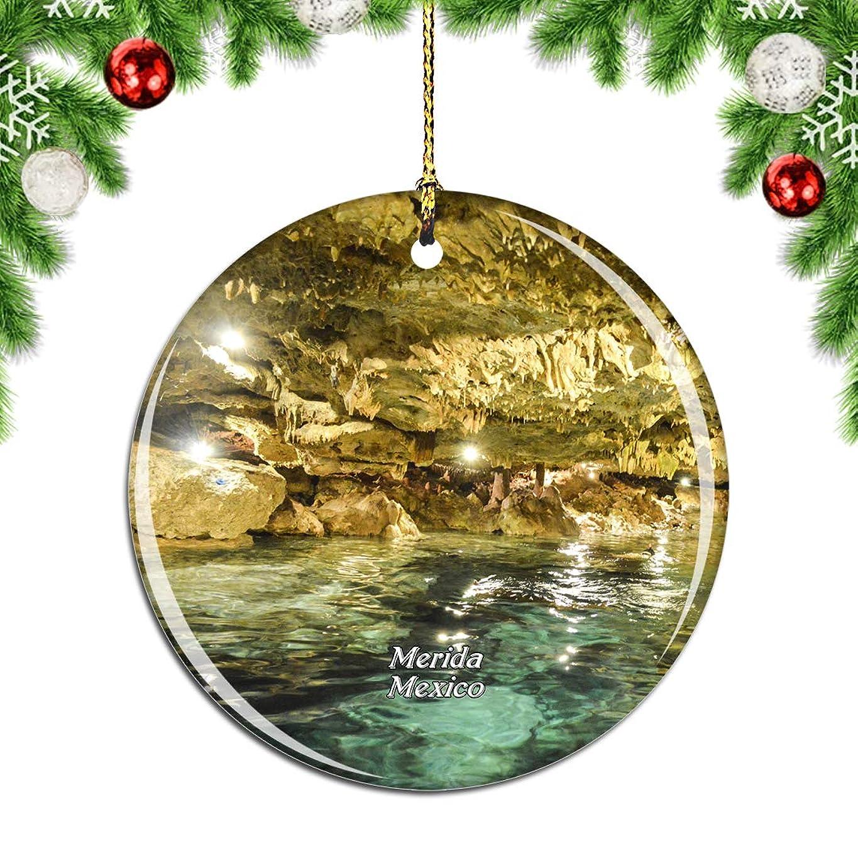 通知するクスコアトラスWeekinoメキシコメリダクリスマスデコレーションオーナメントクリスマスツリーペンダントデコレーションシティトラベルお土産コレクション磁器2.85インチ