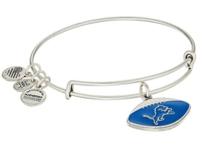 Alex and Ani Color Infusion Detroit Lions Football II Bangle (Rafaelian Silver) Bracelet