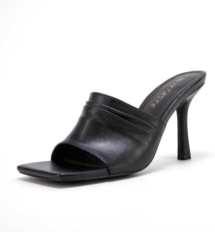 VETASTE Women's Square Open Toe Heels Leather Mules Slip On Sandals Stiletto Summer Shoes