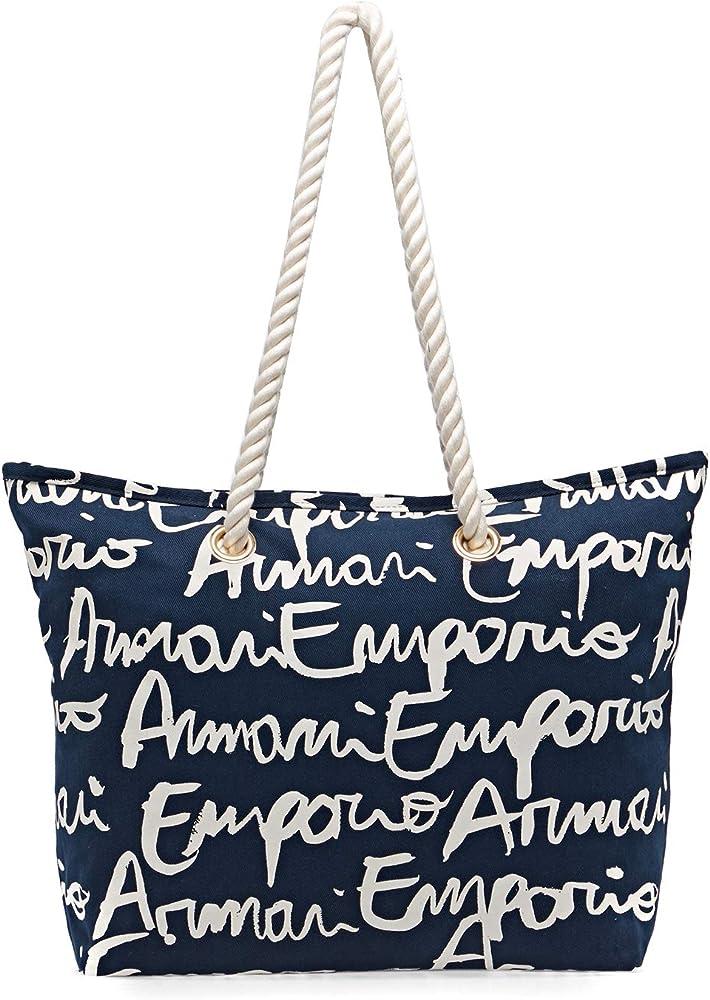 Emporio amani, borsa mare per donna, tutta loggata a contrasto con cerniera e taschino interno, 100% cotone 262653 0P821