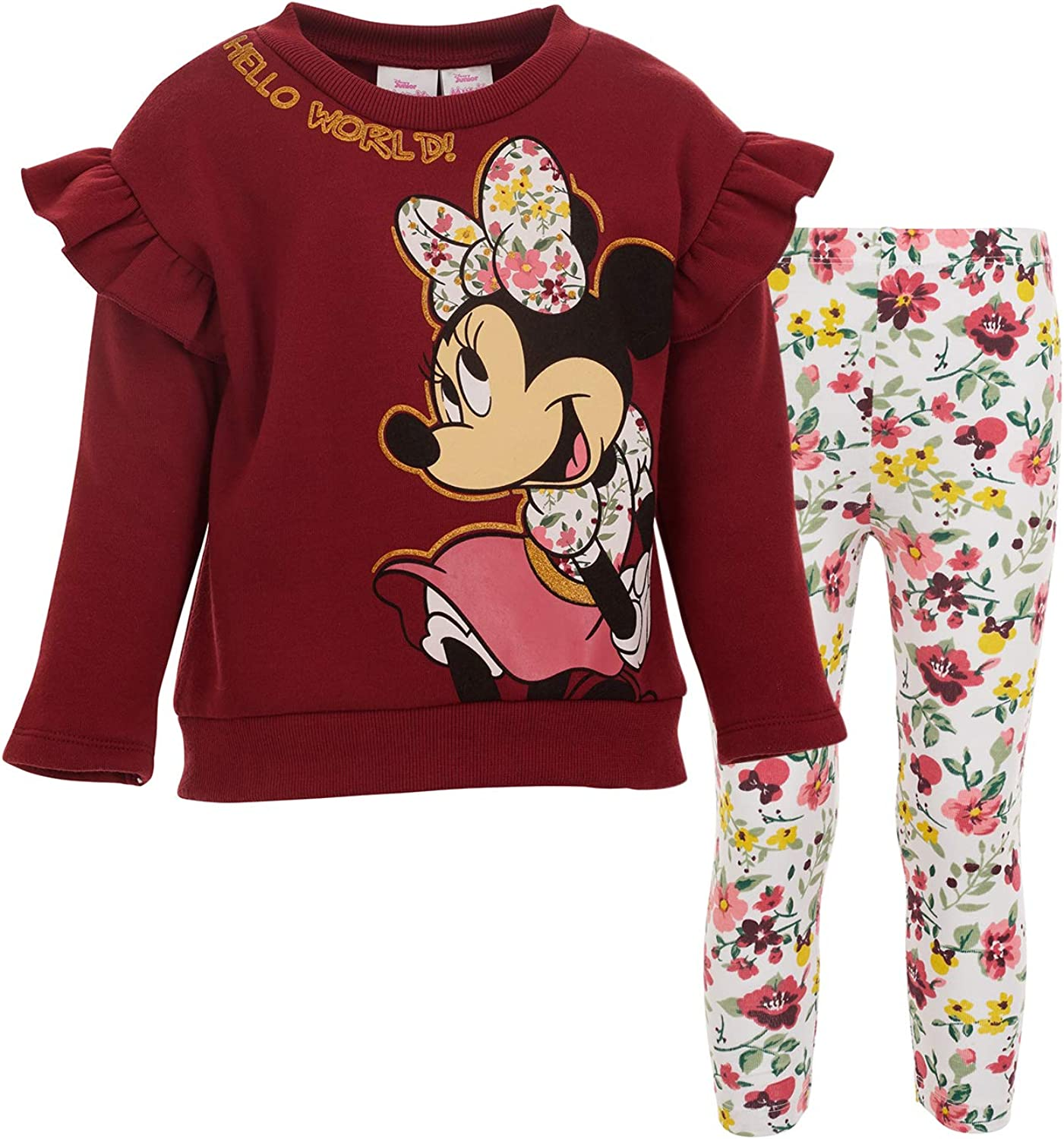 Disney Minnie Mouse Fleece Pullover Sweatshirt and Leggings Set: Clothing, Shoes & Jewelry