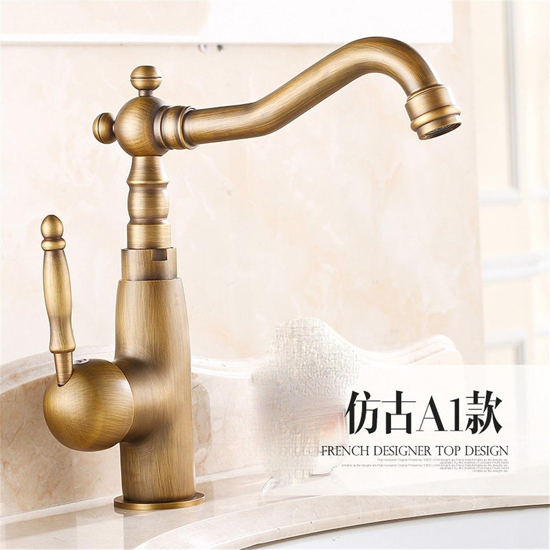 Fbict Retro Faucet European Antique Basin Faucet Copper hot and Cold Faucet Bathroom Basin redation, A1 Antique Short Paragraph 240mm for Kitchen Bathroom Faucet Bid Tap