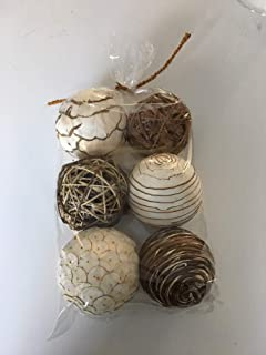 Wreaths For Door Bag 6 Assorted Decorative Balls for Bowls Vase Filler Table Centerpiece Mixed Sola Rattan Twig Balls Cream Brown Spheres 4 Inch Orbs Bowl Filler for Farmhouse Coastal to Traditional