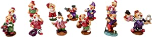 CTG Decorative Porcelain Small Clown Collectible Figurine Set for Holidays and Events, 16 Styles, 4.5 inches, Multicolor