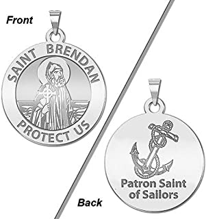 PicturesOnGold.com Saint Brendan Double Sided Sailors Round Religious Medal - - 2/3 Inch Size of Dime, Sterling Silver