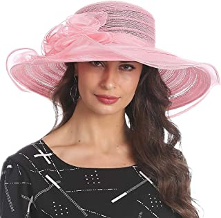 Women's Organza Kentucky Derby Church Dress Hat Fascinator Bridal Wide Brim Tea Party Wedding Hat