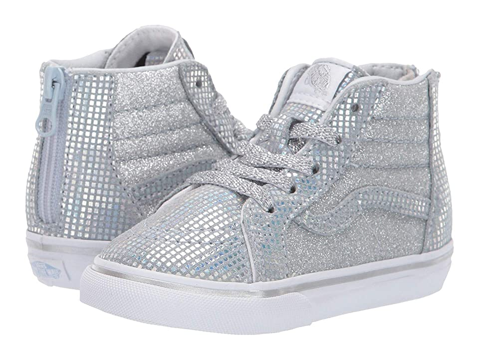 Vans Kids Sk8-Hi Zip (Infant/Toddler) ((Metallic Glitter) Silver) Girls Shoes