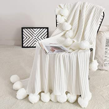 Fomoom Throw Blanket for Couch, 40 x 60 Inch White Pom Pom Throw Blanket Knit Blankt with Pom Poms, Fuzzy, Fluffy, Plush, Soft, Cozy, Warm Knitted Cover, Decorative Cotton Blanket for Sofa Bed