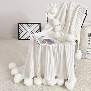 Foomoon Pom Pom Throw Blanket Knit Throw Blankets with Pompom Fringe, 39x59 Inches Soft Plush Crochet Blanket, Decorative Cotton Pom Blanket for Couch Sofa (White)