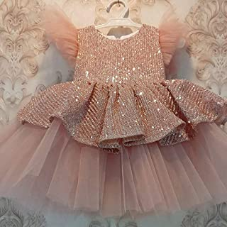 Birthday Fancy Dress Children's dress sequin princess dress Pageant Ball Gowns Kids Tulle (Color : A, Size : 110cm)