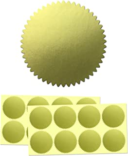 """200 Pack, 2"""" Certificate Wafer Embossing Award Seals Stickers Labels - Gold"""