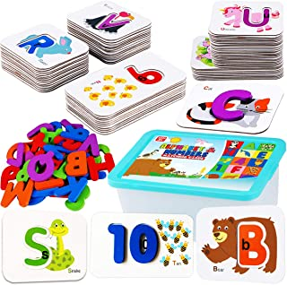 CozyBomB Toddler Alphabet Flash Cards - Preschool Activities Learning Montessori Toys ABC Wooden Letters Jigsaw Numbers Al...