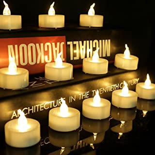 200 Hours Long Lasting Led Votive Candle Warm White Flickering Flameless Realistic Artificial Small Mini Battery Operated Tealight Candle for Christmas Thanks Giving Day Night Party, 12PCS, 1012F