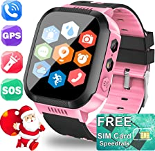 TURNMEON Kids Smartwatch GPS Tracker with SIM CARD - Holiday Electronic Toy Gift Cell Phone Smart Watch for Kids Boy Girl Fitness Tracker - Two Way Call SOS Anti-Lost Camera Game Wrist Watch Bracelet