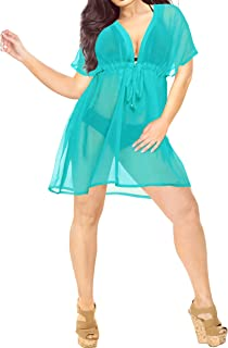 LA LEELA Women Swim Beach Bikini Chiffon Cover Up Dress 4016