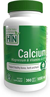 Health Thru Nutrition All-Natural Calcium Magnesium Supplements with Vitamin D3 & K, 360 Softgels (4 Month Supply), 1000mg...