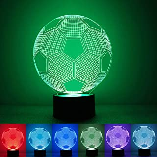 Cara 3D Illusion Football Lights Lamp Soccer Night Lights for Kids 7 LED Colors Changing Touch Table Desk Lamps Decorative Lighting Cool Toys Gifts Birthday Holiday Xmas Gifts Sports Theme Fans