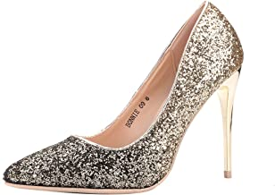 LAROSA ROSE (LA-BONNIE9 Sexy Stiletto Dressy Heels Glitter Party Pumps, Wedding Shoes Evening Dress Heels for Women