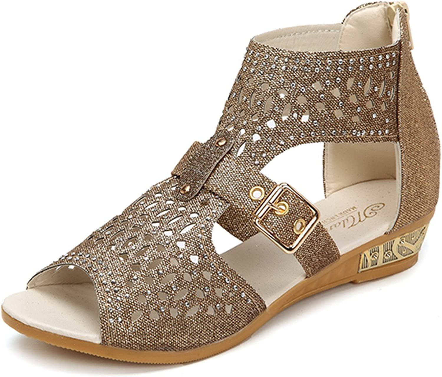 Gracosy Casual Sandals for Women,Summer Flats Peep Toe Rhinestone Hollow Out Wedges Zipper Roman Sandals