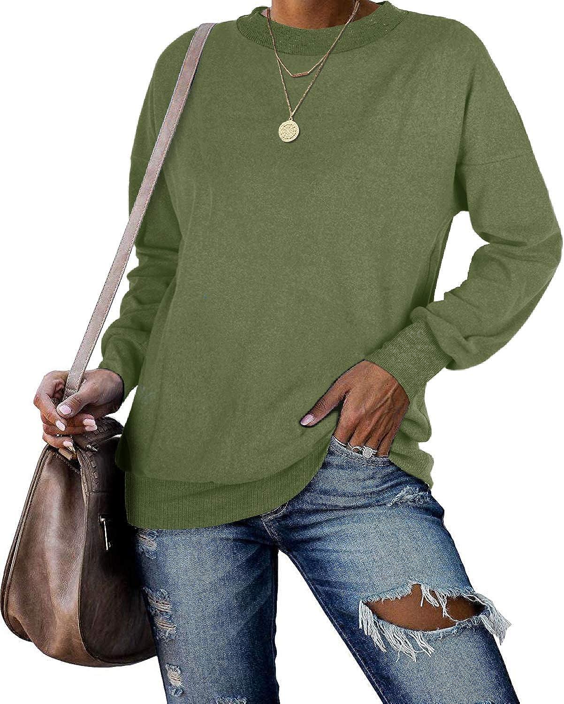 Jescakoo Tunic Sweatshirts for Women Oversized Crewneck Tops Long Sleeve