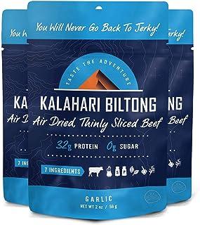 Garlic Kalahari Biltong, Air-Dried Thinly Sliced Beef, 2oz (Pack of 3), Sugar Free, Gluten Free, Keto & Paleo, High Protei...
