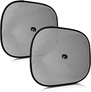 Navaris 2X Parasol para Coche - Protector Solar para Ventana Lateral Trasera - Cortinas de Auto de protección UV - Cortinas para Ventanas en Negro