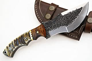 Whole Earth Supply D2 Tracker Hunting Knife Large Knives Survival Skinning Hammered Sheath Steel