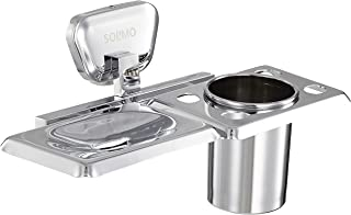 Amazon Brand - Solimo Fitz Stainless Steel Soap Holder with Toothbrush Tumbler