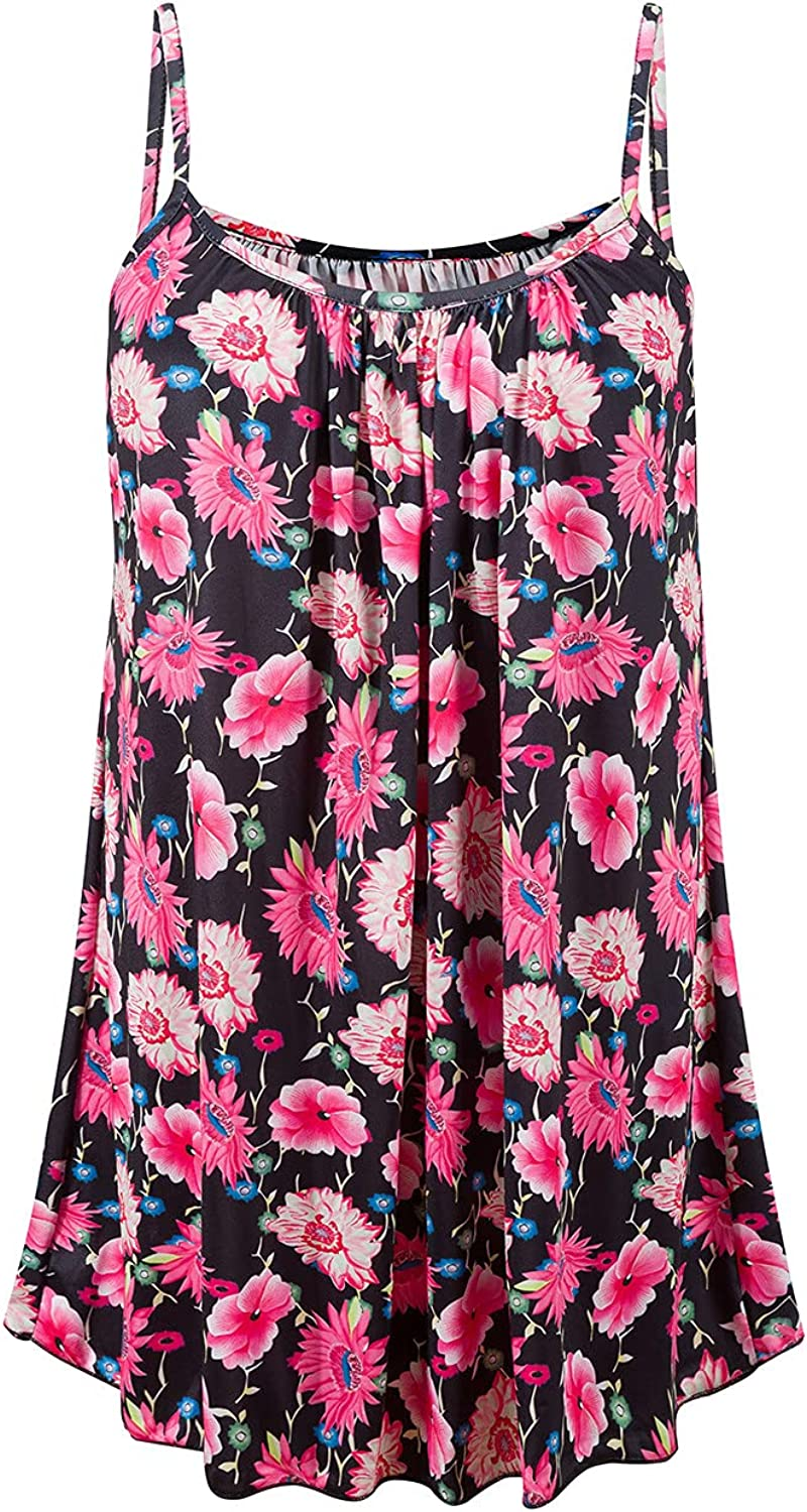 977 Women Tank Tops Bohemia Floral Print Sling Vest Summer Loose Casual Tunic Beach Vacation Comfy Tunic