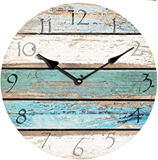 Old-fashioned 12-inch Silent Wall Clock Antique European And American Wall Clock MDF High-density Board Mute Wall Clock Horizontal Blue Green Pattern Wooden Decoration Round Wall Clock Battery Operati